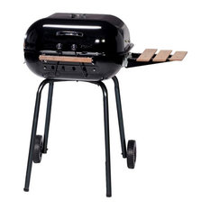 MECO Corporation - The Swinger Grill With Wood Side Table and Cooking Grid, Black, Black - Outdoor Grills