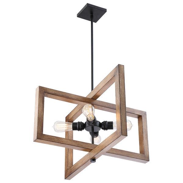 Nuvo Beacon 4-Light Incandescent Black Gray Wood Pendants