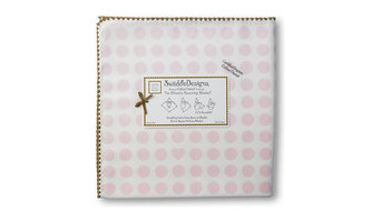 Organic Ultimate Swaddle, Dots & Stars, Hearts with Mocha Trim, Pastel Pink