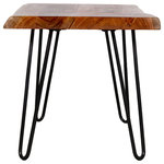 Bolton Furniture - Hairpin Natural Live Edge End Table, Natural - Mid-century meets Modern Industrial with these Natural Live Edge table tops and hairpin metal legs. Each tabletop is unique; no two tops will be exactly alike. Constructed of natural acacia wood. Each of our live edge products includes nylon floor protectors. The knots and cracks add to the wood's character. A clear natural finish enhances the beautiful features in each piece of wood.