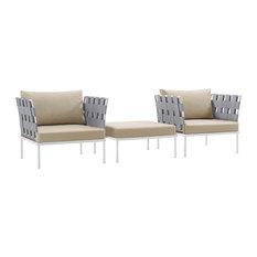 Harmony 3-Piece Outdoor Aluminum Sectional Sofa Set, White Beige