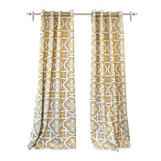 DriftAway - DriftAway Floral Trellis Room Blackout Window Curtains, Set Of 2, Yellow - Curtains