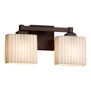 Justice Design Porcelina Regency 2-Light Incandescent Bath Bar, Dark Bronze