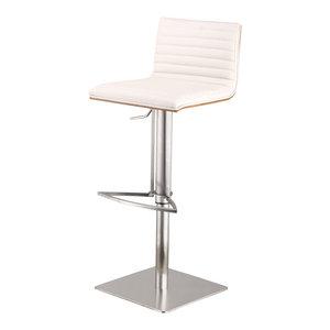 Cafe Adjustable PU Bar Stool With Walnut Back, Seat: White, Base: Brushed Stainl