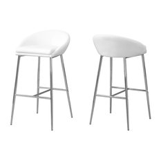 Stools With Chrome Base, Set of 2, White, Counter Height