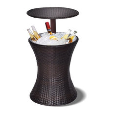 Costway 1PC Adjustable Patio Rattan Ice Cooler Cool Bar Table Party Deck Pool
