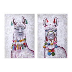 "2-Piece ""Llama Party"" Oil Painting"