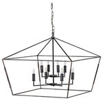 GABBY - Gabby Arnold 8-Light Antique Bronze Lantern Chandelier - Arnold Chandelier by Gabby. Finished in an Antique Bronze, a oversized thin metal tetrahedron is framed around a sweet and simple 8 candle chandelier for a sophisticated look. Measures 32.5 inches wide and 27 inches tall.