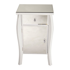 30.45' White Wood Tall Accent Cabinet With A Mirrored Glass Drawer And Door