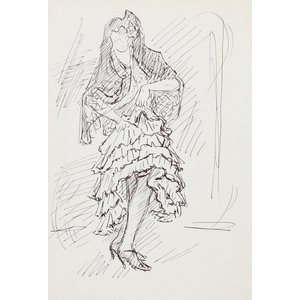"""Laurent Marcel Salinas """"Woman In Shawl 117"""" Ink Drawing"""