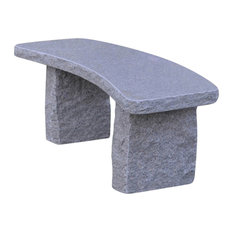 Stone Age Creations Curved Gold Granite Stone Boulder Bench