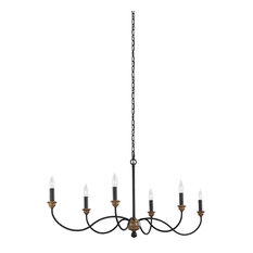 Feiss 6-Light Chandelier, Dark Weathered Zinc / Weathered Oak