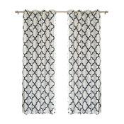 Reverse Moroccan Blackout Single Curtain Panel, Navy