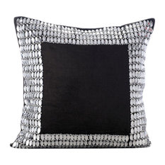 Rhinestones & Crystals 22x22 Velvet Charcoal Gray Pillows Cover, Charcoal Onyx