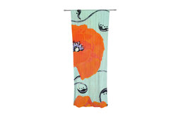 "Christen Treat ""Vintage Poppy"" Orange Flower Decorative Sheer Curtain"