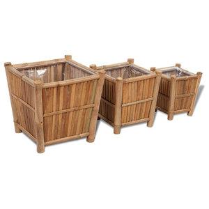 vidaXL 3-Piece Bamboo Planters With Nylon Lining