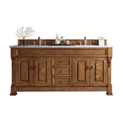 "Brookfield 72"" Double Vanity, Country Oak, 2cm Galala Beige Marble Top"