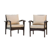 GDF Studio Bleecker Outdoor Brown Wicker Club Chair With Cushion, Set of 2, Brow