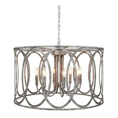 """CHATRIE 31"""" ROUND LARGE GRAY FRENCH COUNTRY DRUM CHANDELIER"""