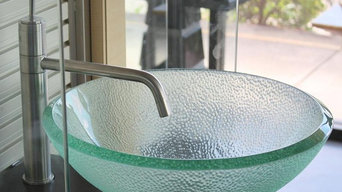 16.5 inch Clear Bubble Texture Exterior Glass Bathroom Vessel Bowl Sink