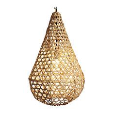Rattan Basket Tear Drop Lantern Medium