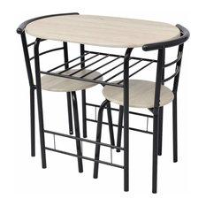 Contemporary MDF and Iron Frame Dining Set, Black