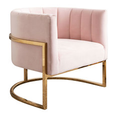Erika Channel Tufting Velvet Accent Chair, Blush Pink