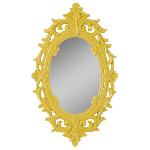 Decorative Oval Wall Mirror, Yellow, 32x52 cm