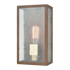 Mckenzie 1 Outdoor Sconce Dark Wood Print/Brushed Brass