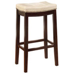 """Linon Home - Claridge Bar Stool, Jute, Counter Height - The Claridge Jute Counter Stool will add stylish seating to any counter or high top table. The sturdy wood frame has a dark brown finish accented by a jute vinyl upholstered seat. Nailhead trim and accent stitching adds a patchwork design to the top for an eye-catching detail. 24"""" Seat Height. 275 pound weight limit."""