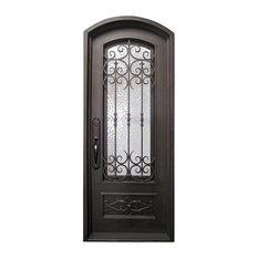 "Envidia 39""x96"" Wrought Iron Door, 6"" Jamb, Aged Bronze Patina, Right Hand"