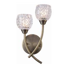 Berkley 2-Light Antique Brass Wall Light With Glass Shades