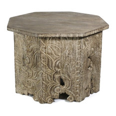 My Swanky Home   Luxe Salvaged Wood Carved Tribal Coffee Table, Octagon  Round Rustic