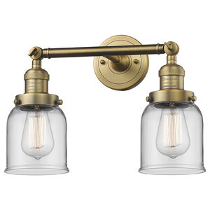 Innovations Small Bell 2-Light Dimmable LED Bathroom Fixture, Brushed Brass