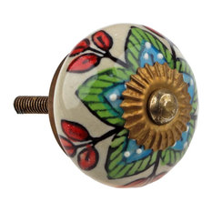GlideRite Hardware   Hand Painted Round Ceramic India Cabinet Knobs    Cabinet And Drawer Knobs