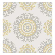 NuWallpaper by Brewster NUW1652 Grey and Yellow Suzani Peel & Stick Wallpaper