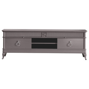 Television Stand With 4 Drawers, Grey
