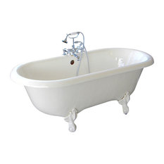 Marquis White Double Clawfoot Tub With Oil Rubbed Bronze Feet, No Drilled Faucet