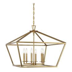 Townsend 6-Light Foyer Lantern, Warm Brass