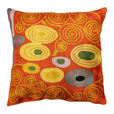 Klimt Coral Swirls Accent Pillow Cover Hand Embroidered Wool 18x18""
