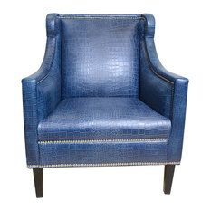 Pasargad Bergdorf Collection Leather Armchair, Blue