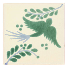 Handmade Tierra y Fuego Ceramic Tile, Green Dove, Set of 9