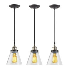 """Globe Electric 65207 65"""" Adjustable Pendants With Clear Glass Shade, Set of 3"""