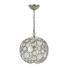 Palla 1-Light Mini Chandelier Natural White Capiz Shell Crystal