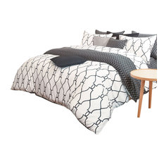 Reversible Sateen Charcoal And White Queen Duvet Cover Set, Queen