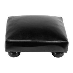 Tyler Black Faux Leather Foot Stool, Set of 2