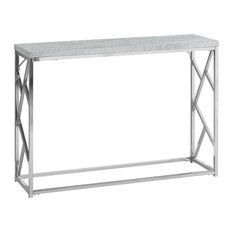 Monarch Specialties 30.5-inchH Grey Cement-Look Console Table With Chrome Metal Base