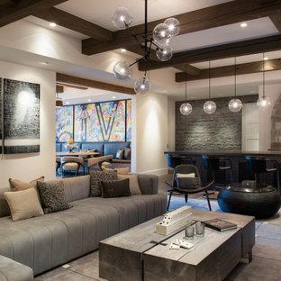 他の地域の広いインダストリアルスタイルのおしゃれな着席型バー (ウォールシェルフ、黒いキャビネット、コンクリートカウンター、ミラータイルのキッチンパネル、無垢フローリング、茶色い床、グレーのキッチンカウンター) の写真