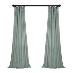 "FauxLinen Semi Sheer Single Panel Curtain, Bayside Aqua, 50""x96"""