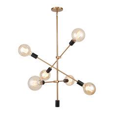 Woodbridge Lighting Reese 6-Light Pendant Chandelier, Brass, Black